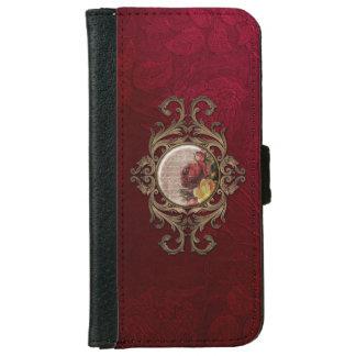 Vintage Ornate Burgandy Floral iPhone 6 Wallet Case