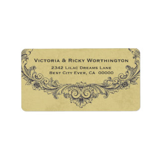 Vintage Ornate Frame Gold Background Wedding Paper Label