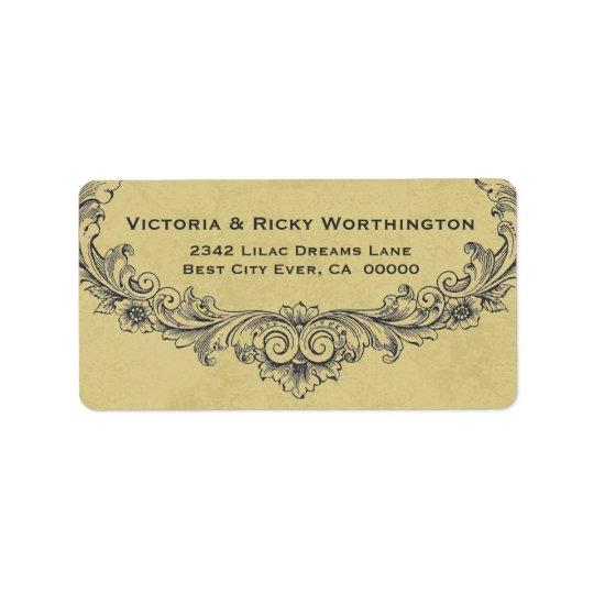 Vintage Ornate Frame Gold Background Wedding Paper Label