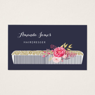 Vintage Ornate Hairdresser Comb With Pink Floral Business Card