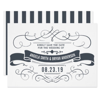 Vintage ornate save the date card