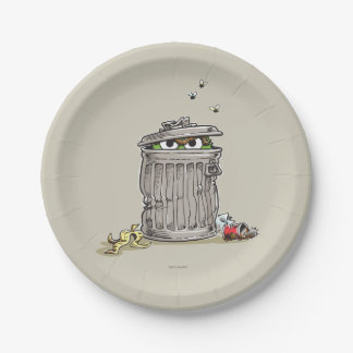 Vintage Oscar in Trash Can Paper Plate