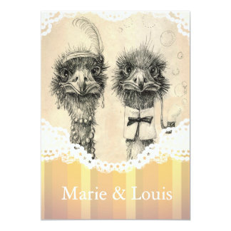 Vintage ostrich couple - pale orange card