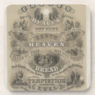 Vintage Our Father Prayer Beverage Coasters