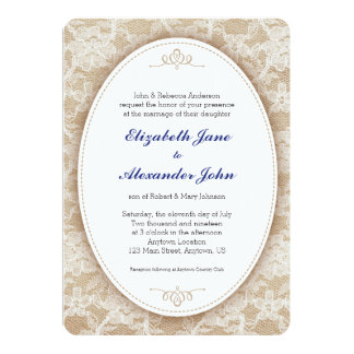 """Vintage Oval on Burlap and Lace Wedding 5"""" X 7"""" Invitation Card"""