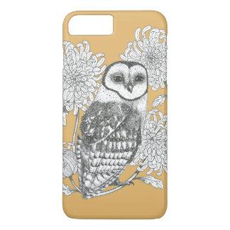 vintage owl and chrysanthemum phone case