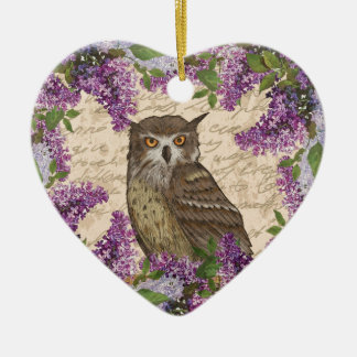 Vintage owl and lilac ceramic ornament