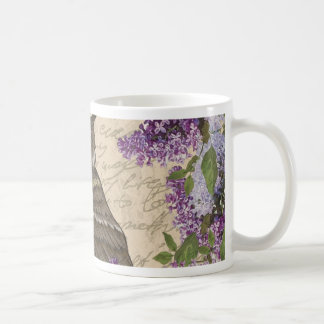 Vintage owl and lilac coffee mug