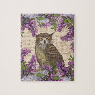 Vintage owl and lilac jigsaw puzzle