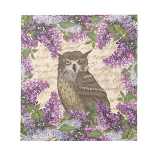 Vintage owl and lilac notepads