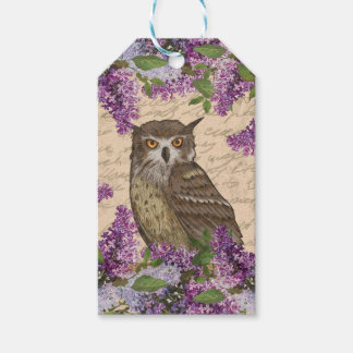Vintage owl and lilac pack of gift tags