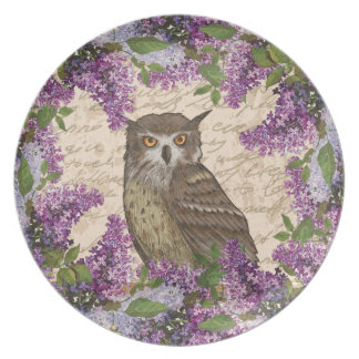 Vintage owl and lilac plate