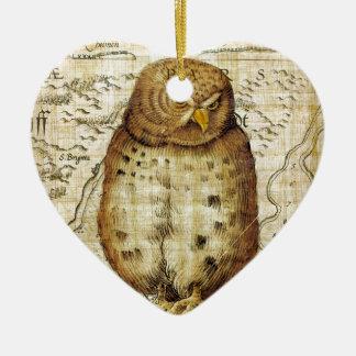 Vintage owl ceramic heart ornament