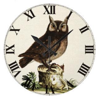 Vintage Owl Drawing Clock