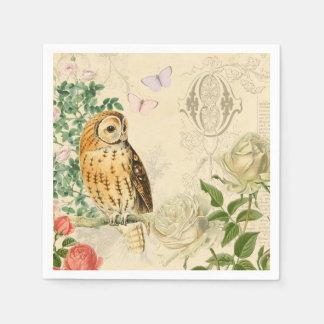 Vintage owl floral paper napkins w/ beautiful rose