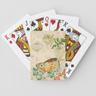 Vintage owl floral playing cards w/ beautiful rose