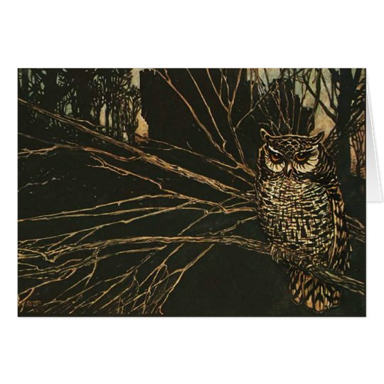 Vintage Owl in the Woods Card
