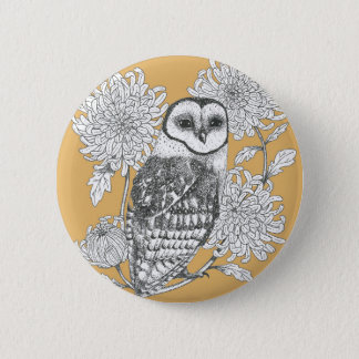 vintage owl ink illustration with flowers button
