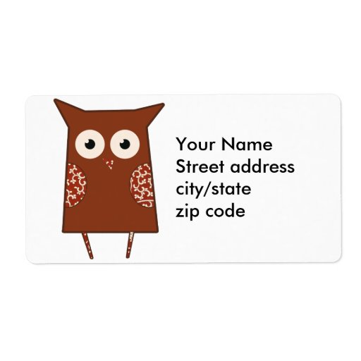 Vintage Owl Personalized Shipping Labels