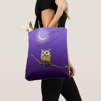 Vintage Owl Night Moonlight Deep Blue Tote