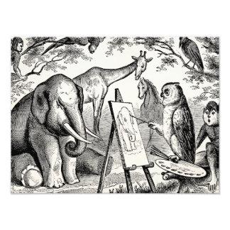 Vintage Owl Painting Elephant 1800s Jungle Scene Art Photo