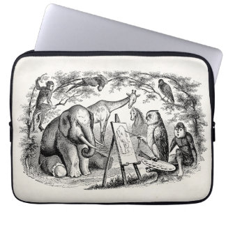 Vintage Owl Painting Elephant 1800s Jungle Scene Laptop Sleeve