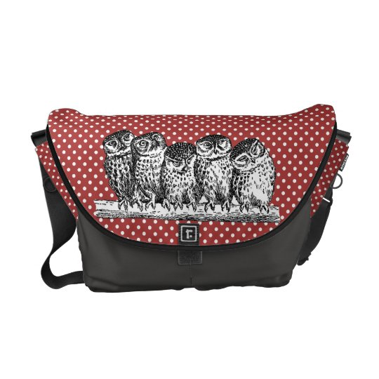Vintage Owls and Red Polka Dots Courier Bags