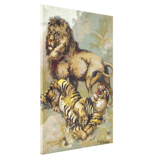 Vintage P. T. Barnum Lion and Tiger Canvas Print