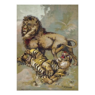 Vintage P. T. Barnum Lion and Tiger Print