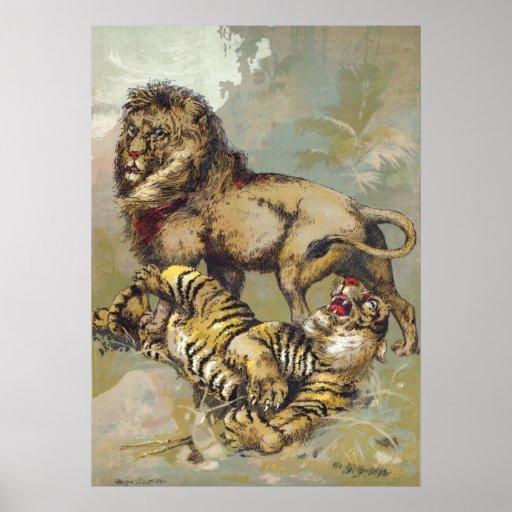 Vintage P. T. Barnum Lion and Tiger Print