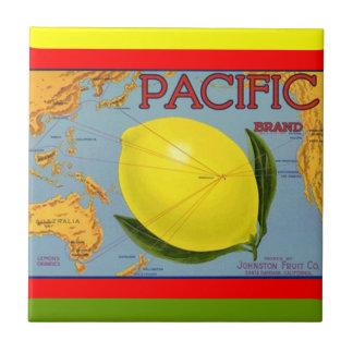 Vintage Pacific Fruit Map Lemon Crate Label Tile