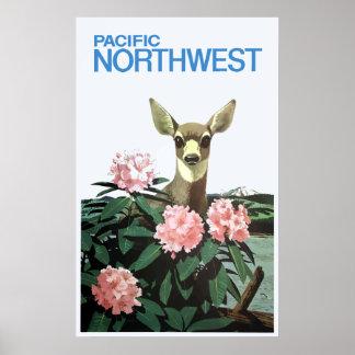 Vintage Pacific Northwest Deer and Flowers Poster