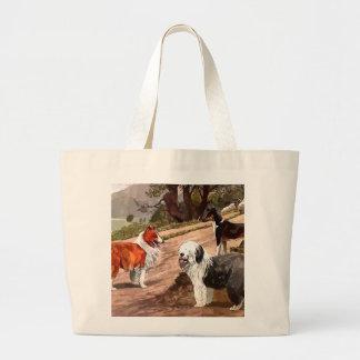 Vintage Painted Collies Tote Bag