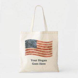 Vintage Painted Look American Flag Budget Tote Bag