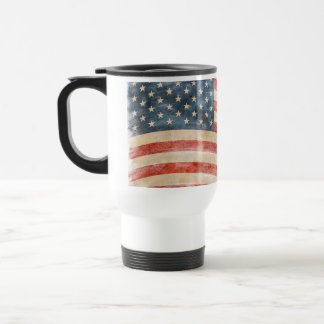 Vintage Painted Look American Flag Travel Mug