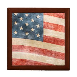 Vintage Painted Look American Flag Trinket Boxes