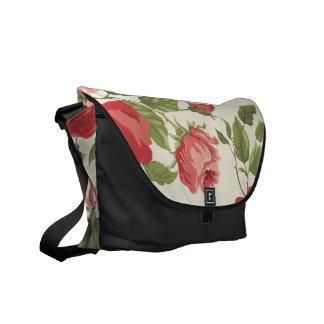Vintage Painted Rose Vines Messenger Bags