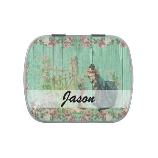 Vintage Painted Rustic Easter Rabbit Scene