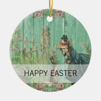 Vintage Painted Rustic Easter Rabbit Scene Ceramic Ornament
