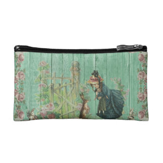 Vintage Painted Rustic Easter Rabbit Scene Cosmetic Bag