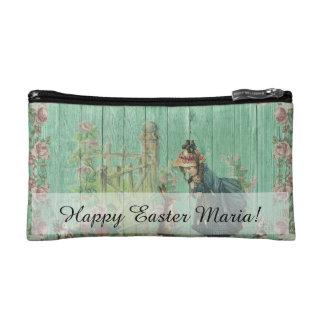 Vintage Painted Rustic Easter Rabbit Scene Cosmetic Bag