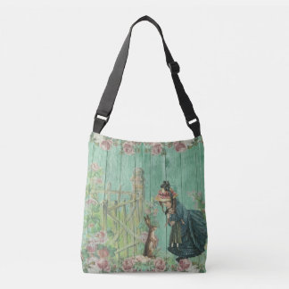 Vintage Painted Rustic Easter Rabbit Scene Crossbody Bag