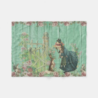 Vintage Painted Rustic Easter Rabbit Scene Fleece Blanket