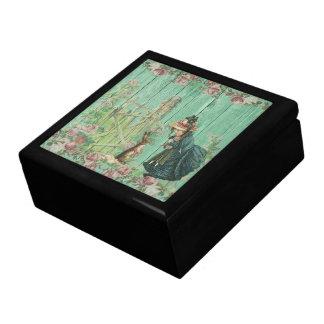 Vintage Painted Rustic Easter Rabbit Scene Gift Box
