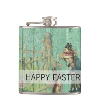 Vintage Painted Rustic Easter Rabbit Scene Hip Flask