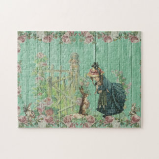 Vintage Painted Rustic Easter Rabbit Scene Jigsaw Puzzle