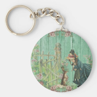 Vintage Painted Rustic Easter Rabbit Scene Keychain