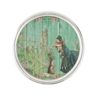 Vintage Painted Rustic Easter Rabbit Scene Lapel Pin