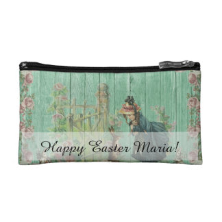 Vintage Painted Rustic Easter Rabbit Scene Makeup Bag