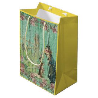 Vintage Painted Rustic Easter Rabbit Scene Medium Gift Bag